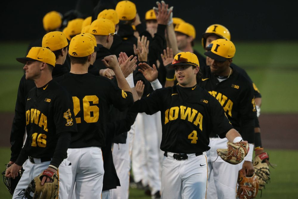 The Iowa baseball team celebrates at the game vs. Bradley on Tuesday, March 26, 2019 at (place). (Lily Smith/hawkeyesports.com)