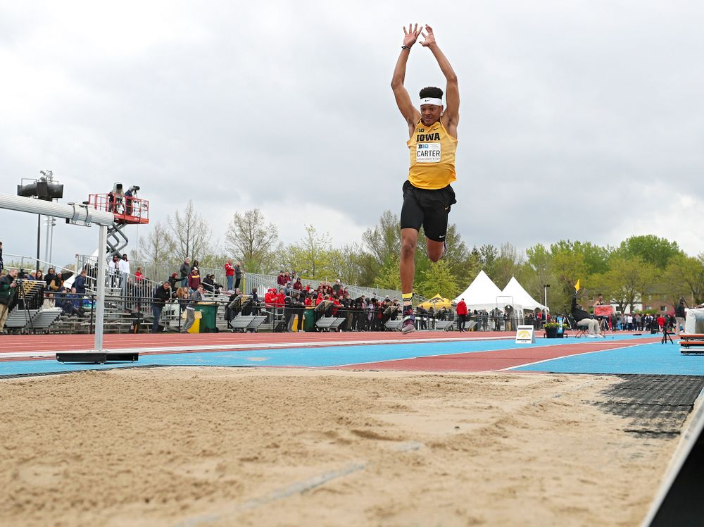 Iowa's James Carter jumps in the men's triple jump event on the third day of the Big Ten Outdoor Track and Field Championships at Francis X. Cretzmeyer Track in Iowa City on Sunday, May. 12, 2019. (Stephen Mally/hawkeyesports.com)