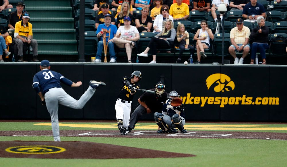 Iowa Hawkeyes infielder Mitchell Boe (4) doubles against the Penn State Nittany Lions Friday, May 18, 2018 at Duane Banks Field. (Brian Ray/hawkeyesports.com)