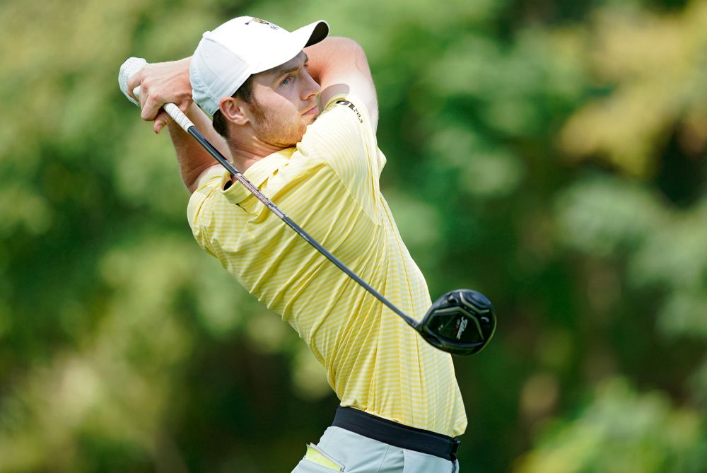Iowa's Jake Rowe tees off during the third day of the Golfweek Conference Challenge at the Cedar Rapids Country Club in Cedar Rapids on Tuesday, Sep 17, 2019. (Stephen Mally/hawkeyesports.com)