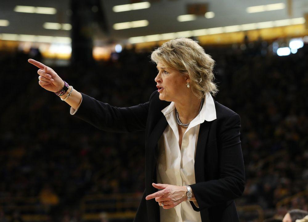 Iowa Hawkeyes head coach Lisa Bluder against the Northwestern Wildcats Sunday, March 3, 2019 at Carver-Hawkeye Arena. (Brian Ray/hawkeyesports.com)