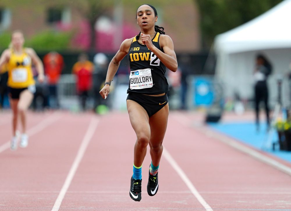 Iowa's Briana Guillory runs the women's 400 meter dash event on the second day of the Big Ten Outdoor Track and Field Championships at Francis X. Cretzmeyer Track in Iowa City on Saturday, May. 11, 2019. (Stephen Mally/hawkeyesports.com)