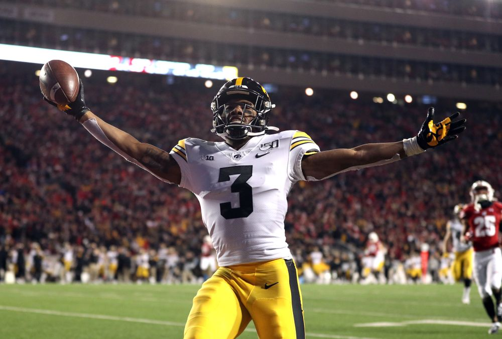Iowa Hawkeyes wide receiver Tyrone Tracy Jr. (3) scores against the Wisconsin Badgers Saturday, November 9, 2019 at Camp Randall Stadium in Madison, Wisc. (Brian Ray/hawkeyesports.com)