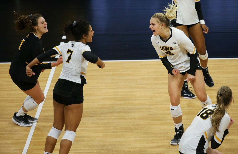 Iowa Hawkeyes right side hitter Reghan Coyle (8) reacts after a kill during a game against Purdue at Carver-Hawkeye Arena on October 13, 2018. (Tork Mason/hawkeyesports.com)