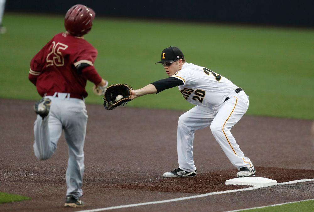 Iowa Hawkeyes catcher Austin Guzzo (20) against Coe College Wednesday, April 11, 2018 at Duane Banks Field. (Brian Ray/hawkeyesports.com)