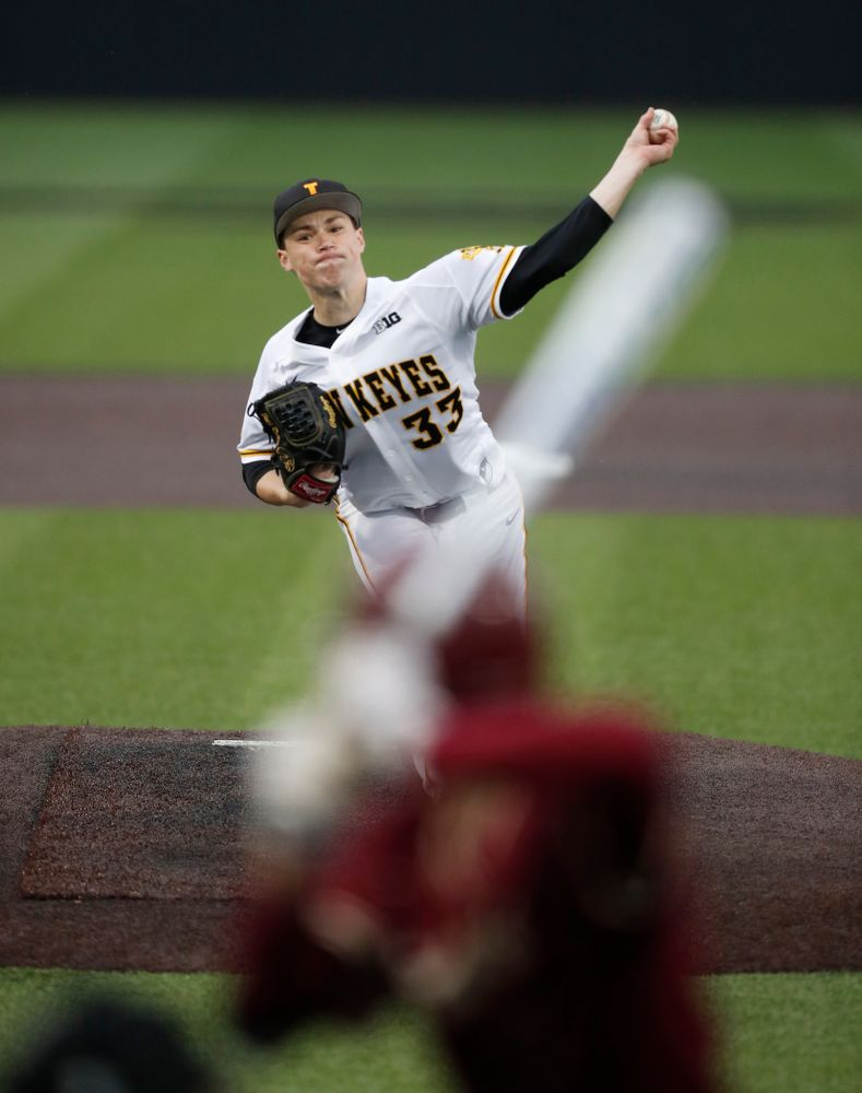 Iowa Hawkeyes pitcher Jack Dreyer (33) against Coe College Wednesday, April 11, 2018 at Duane Banks Field. (Brian Ray/hawkeyesports.com)