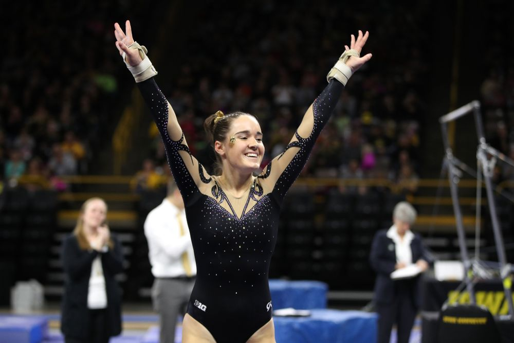Iowa's Allie Gilchrist competes on the beam during their meet against Southeast Missouri State Friday, January 11, 2019 at Carver-Hawkeye Arena. (Brian Ray/hawkeyesports.com)