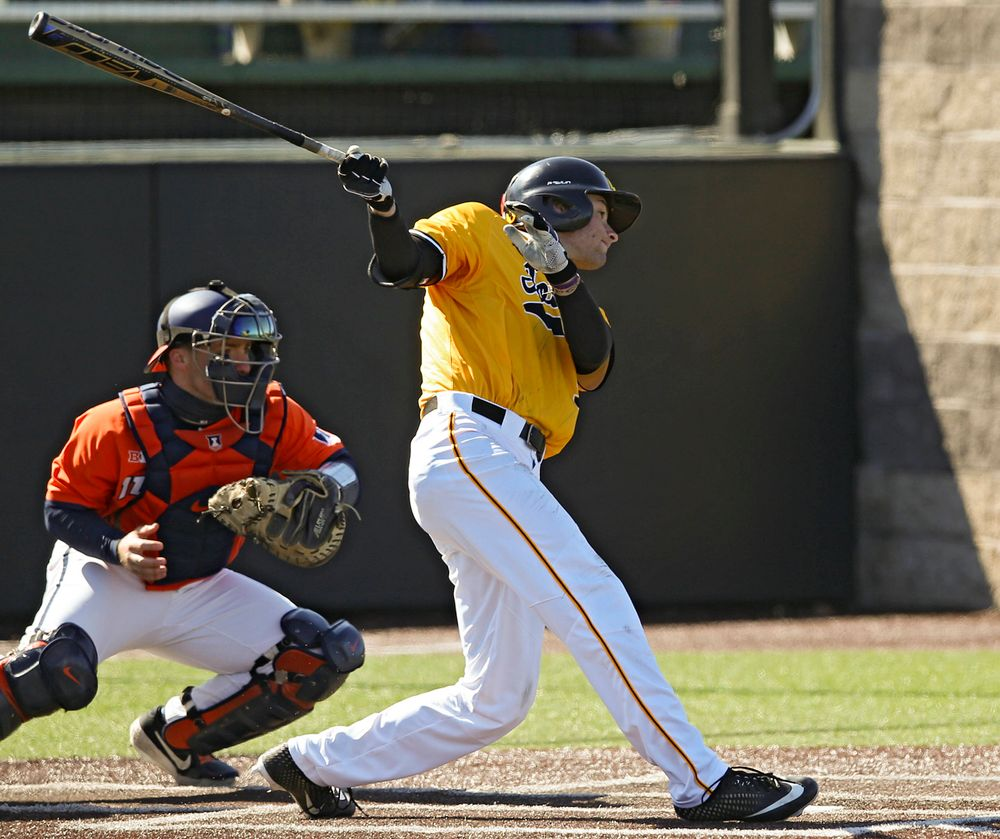Iowa Hawkeyes outfielder Ben Norman (9) gets a hit during the seventh inning against Illinois at Duane Banks Field in Iowa City on Sunday, Mar. 31, 2019. (Stephen Mally/hawkeyesports.com)