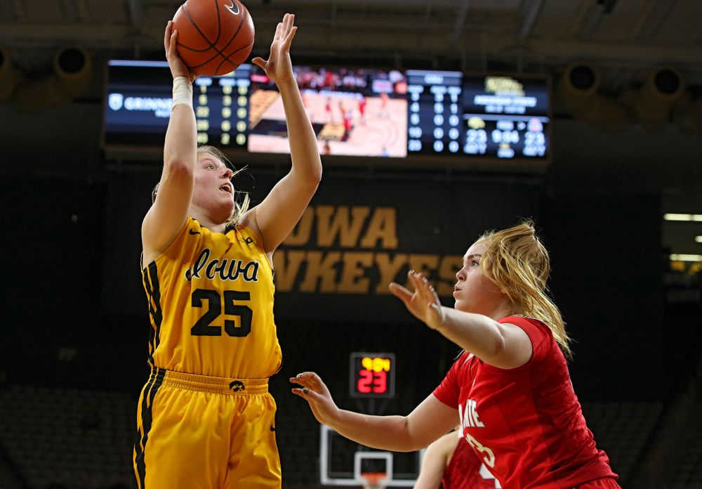 Iowa Hawkeyes forward Monika Czinano (25) puts up a shot during the second quarter of their game at Carver-Hawkeye Arena in Iowa City on Thursday, January 23, 2020. (Stephen Mally/hawkeyesports.com)