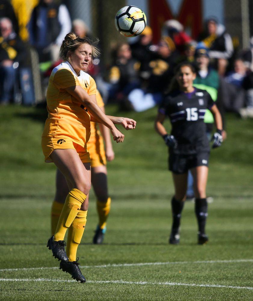 Iowa Hawkeyes midfielder Isabella Blackman (6) heads the ball during a game against Northwestern at the Iowa Soccer Complex on October 21, 2018. (Tork Mason/hawkeyesports.com)
