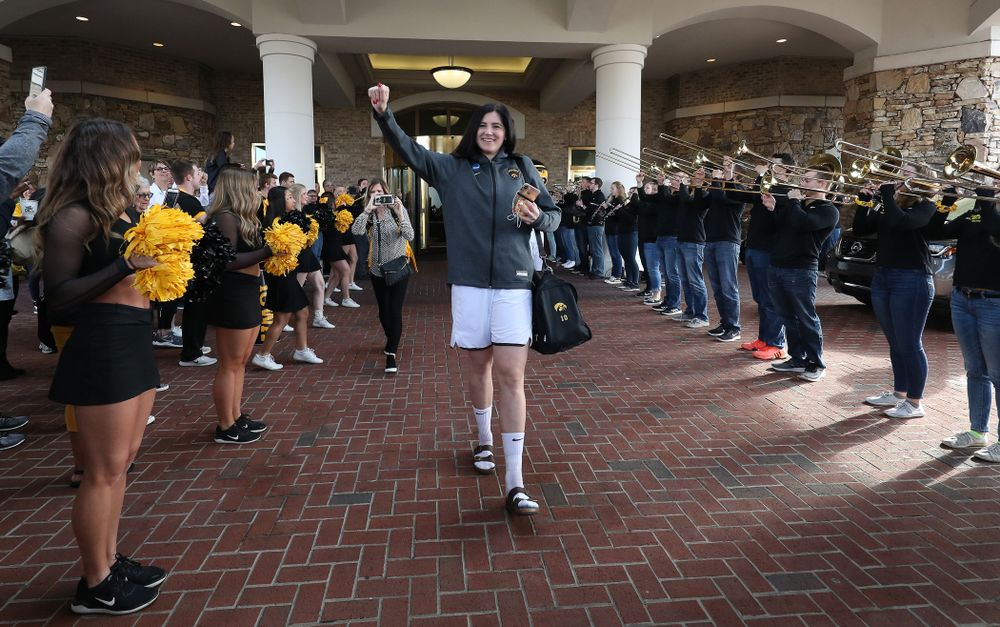 Iowa Hawkeyes forward Megan Gustafson (10) during a send off at the hotel before their game against the NC State Wolfpack in the regional semi-final of the 2019 NCAA Women's College Basketball Tournament Saturday, March 30, 2019 at Greensboro Coliseum in Greensboro, NC.(Brian Ray/hawkeyesports.com)