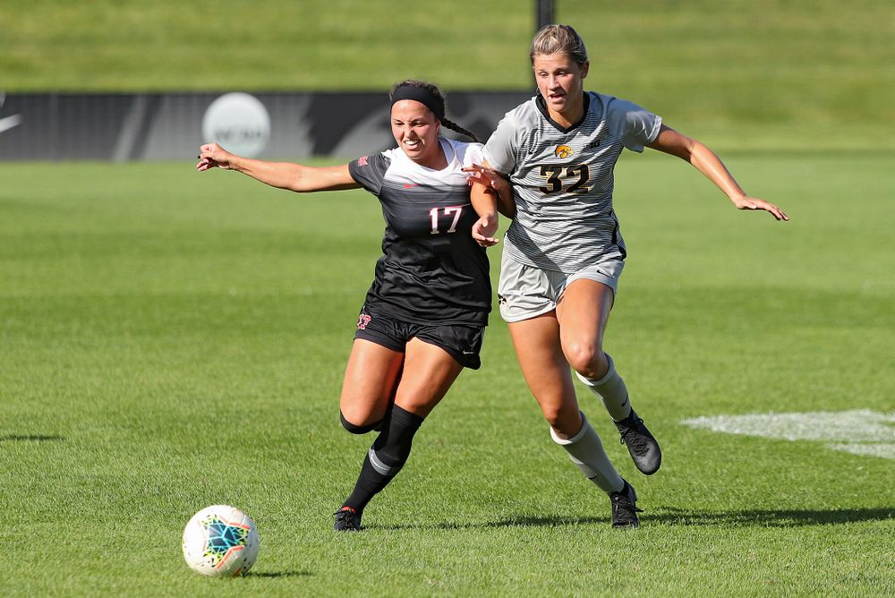 Iowa forward Gianna Gourley (32) tries to reach the ball during the second half of their match at the Iowa Soccer Complex in Iowa City on Sunday, Sep 1, 2019. (Stephen Mally/hawkeyesports.com)