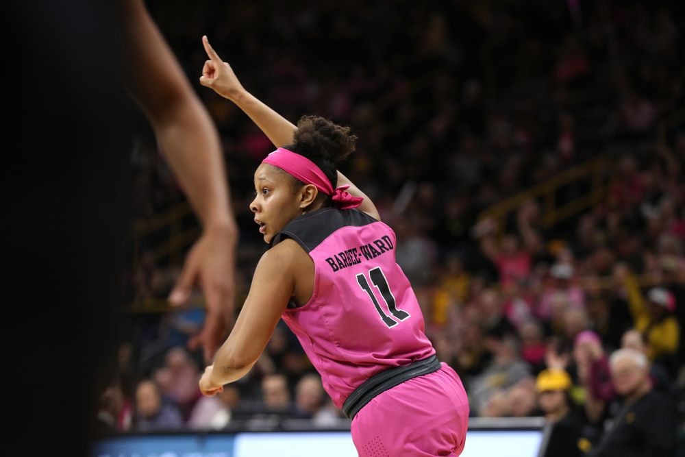 Iowa Hawkeyes guard Tania Davis (11) against the seventh ranked Maryland Terrapins Sunday, February 17, 2019 at Carver-Hawkeye Arena. (Brian Ray/hawkeyesports.com)