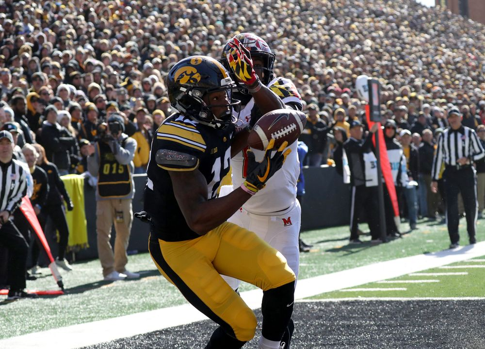 Iowa Hawkeyes wide receiver Brandon Smith (12) pulls down a one handed touchdown grab against the Maryland Terrapins Saturday, October 20, 2018 at Kinnick Stadium (Max Allen/hawkeyesports.com)