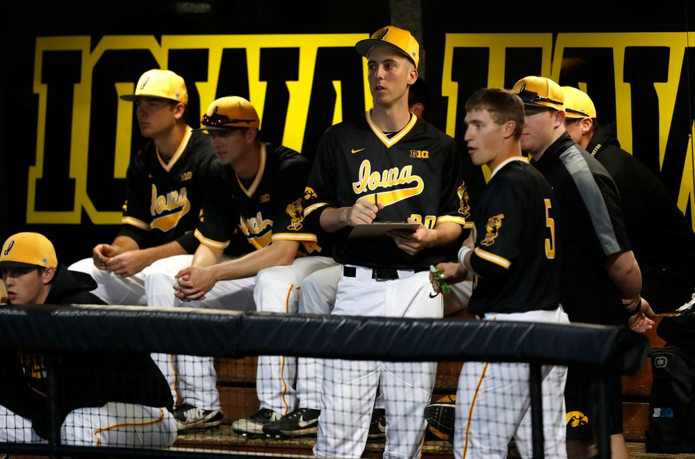 Iowa Hawkeyes outfielder Connor McCaffery (30) against Milwaukee Wednesday, April 25, 2018 at Duane Banks Field. (Brian Ray/hawkeyesports.com)