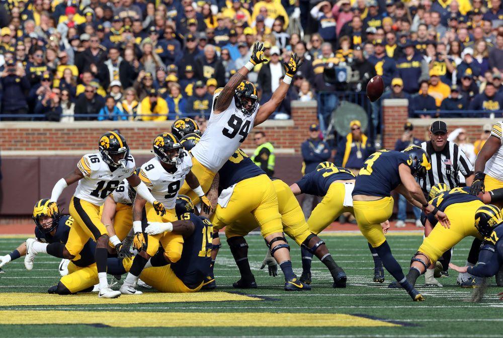 Iowa Hawkeyes defensive end A.J. Epenesa (94) against the Michigan Wolverines Saturday, October 5, 2019 at Michigan Stadium in Ann Arbor, MI. (Brian Ray/hawkeyesports.com)