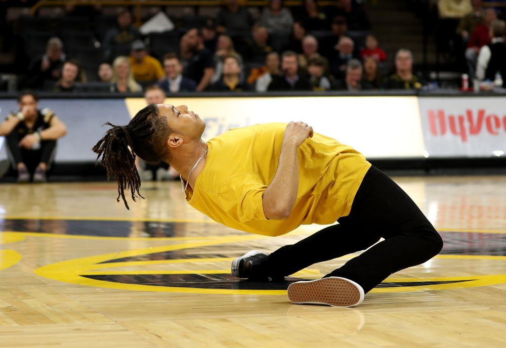 Snap  Boogie performs at half-time of the Iowa Hawkeyes game against the Ohio State Buckeyes Thursday, February 20, 2020 at Carver-Hawkeye Arena. (Brian Ray/hawkeyesports.com)