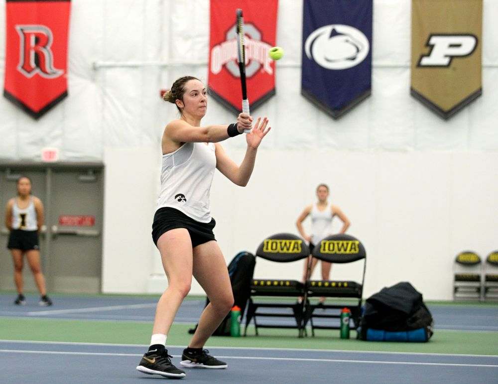 Iowa's Samantha Mannix returns a shot during her doubles match at the Hawkeye Tennis and Recreation Complex in Iowa City on Sunday, February 23, 2020. (Stephen Mally/hawkeyesports.com)