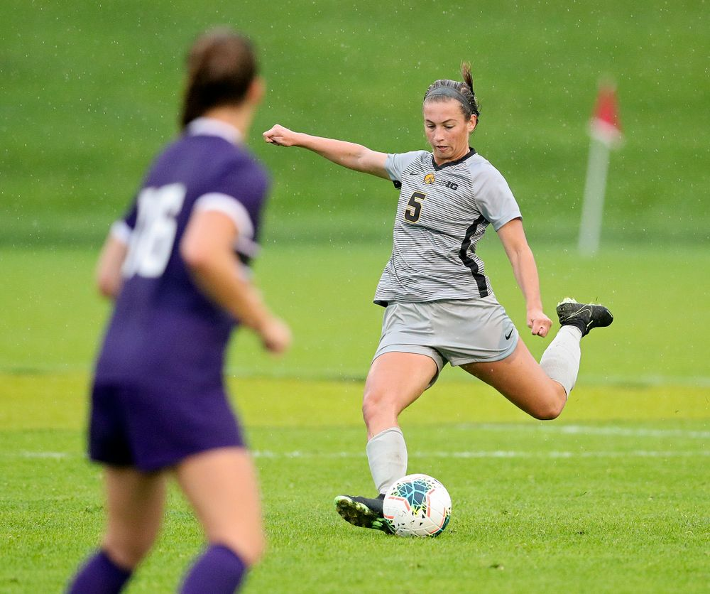 Iowa defender Riley Whitaker (5) lines up a shot during the second half of their match at the Iowa Soccer Complex in Iowa City on Sunday, Sep 29, 2019. (Stephen Mally/hawkeyesports.com)