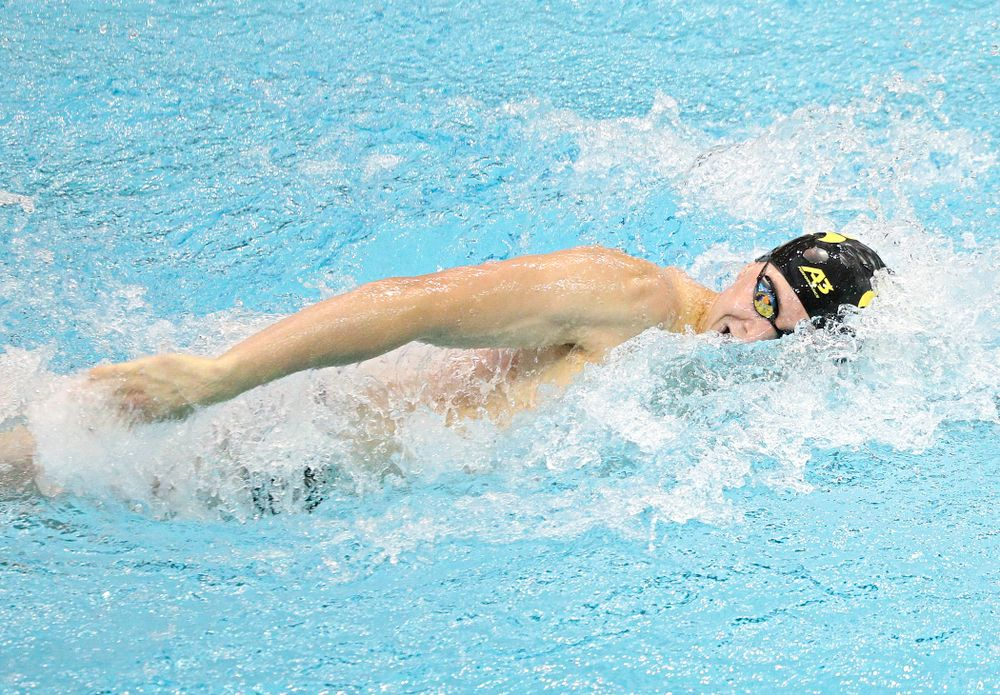 Iowa's Aleksey Tarasenko swims the men's 100-yard freestyle event during their meet against Michigan State and Northern Iowa at the Campus Recreation and Wellness Center in Iowa City on Friday, Oct 4, 2019. (Stephen Mally/hawkeyesports.com)