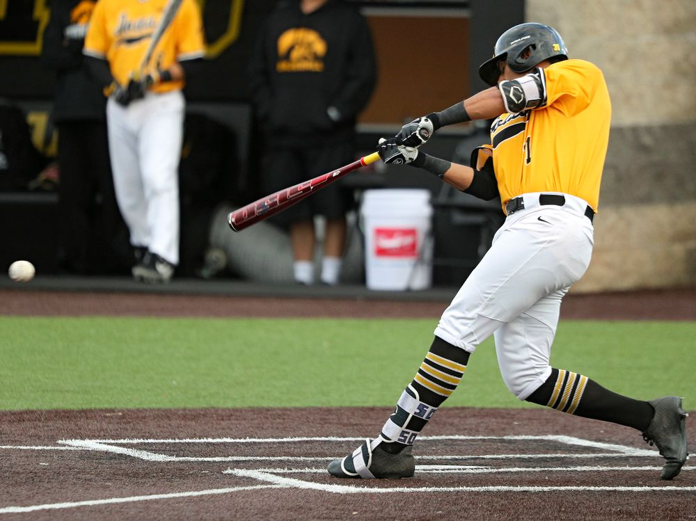 Iowa infielder Matthew Sosa (31) drives a pitch for a hit during the fifth inning of the first game of the Black and Gold Fall World Series at Duane Banks Field in Iowa City on Tuesday, Oct 15, 2019. (Stephen Mally/hawkeyesports.com)