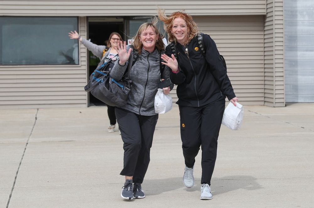 Associate head coach Jenni Fitzgerald and trainer Jennie Sertterh board the team plane to Greensboro, NC for the Regionals of the 2019 NCAA Women's Basketball Championships Thursday, March 28, 2019 at the Eastern Iowa Airport. (Brian Ray/hawkeyesports.com)