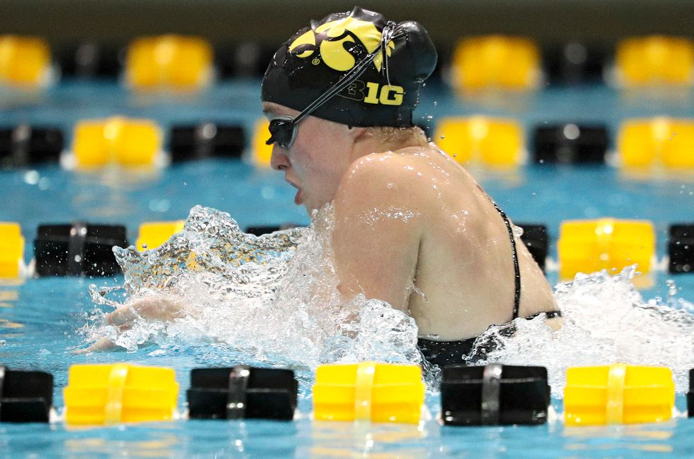 Iowa's Kelsey Drake swims the breststroke section of the 100-yard individual medley event during their meet against Michigan State at the Campus Recreation and Wellness Center in Iowa City on Thursday, Oct 3, 2019. (Stephen Mally/hawkeyesports.com)