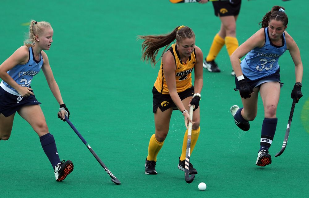 Iowa Hawkeyes defenseman Emily Deuell (2) against Columbia Sunday, September 8, 2019 at Grant Field. (Brian Ray/hawkeyesports.com)