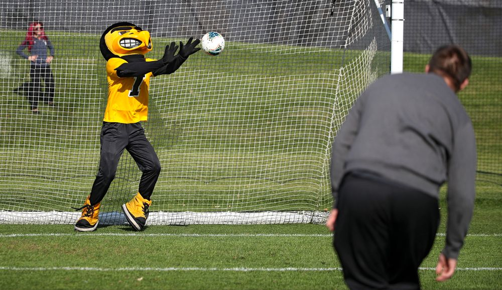Herky grabs a shot during halftime of their match at the Iowa Soccer Complex in Iowa City on Sunday, Oct 27, 2019. (Stephen Mally/hawkeyesports.com)
