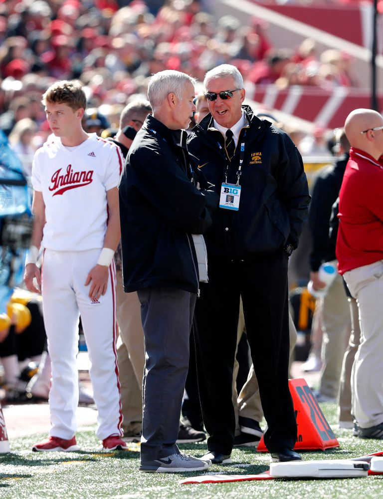 Henry B. and Patricia B. Tippie Director of Athletics Chair Gary Barta and Senior Associate AD, Revenue and External Relations Matt Henderson against the Indiana Hoosiers Saturday, October 13, 2018 at Memorial Stadium, in Bloomington, Ind. (Brian Ray/hawkeyesports.com)