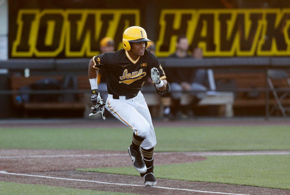 Iowa Hawkeyes third baseman Lorenzo Elion (1) against Milwaukee Wednesday, April 25, 2018 at Duane Banks Field. (Brian Ray/hawkeyesports.com)