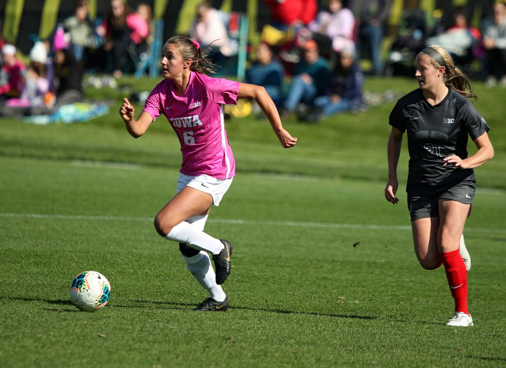 Iowa midfielder Isabella Blackman (6) looks to pass during the first half of their match at the Iowa Soccer Complex in Iowa City on Sunday, Oct 27, 2019. (Stephen Mally/hawkeyesports.com)
