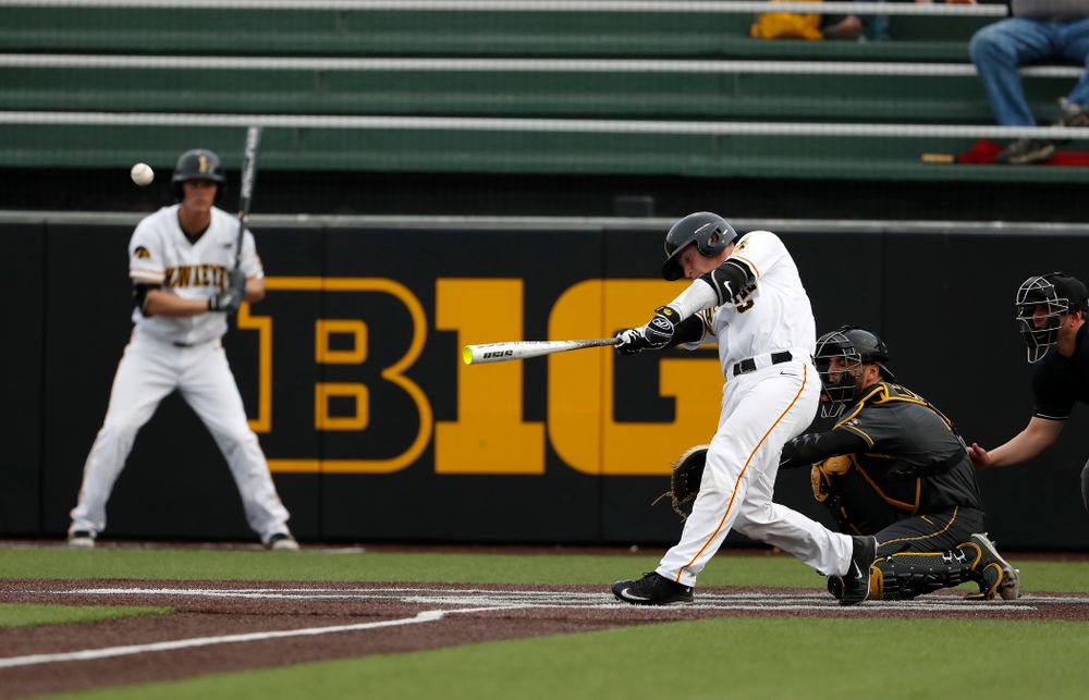 Iowa Hawkeyes catcher Tyler Cropley (5) hits a home run against the Missouri Tigers Tuesday, May 1, 2018 at Duane Banks Field. (Brian Ray/hawkeyesports.com)