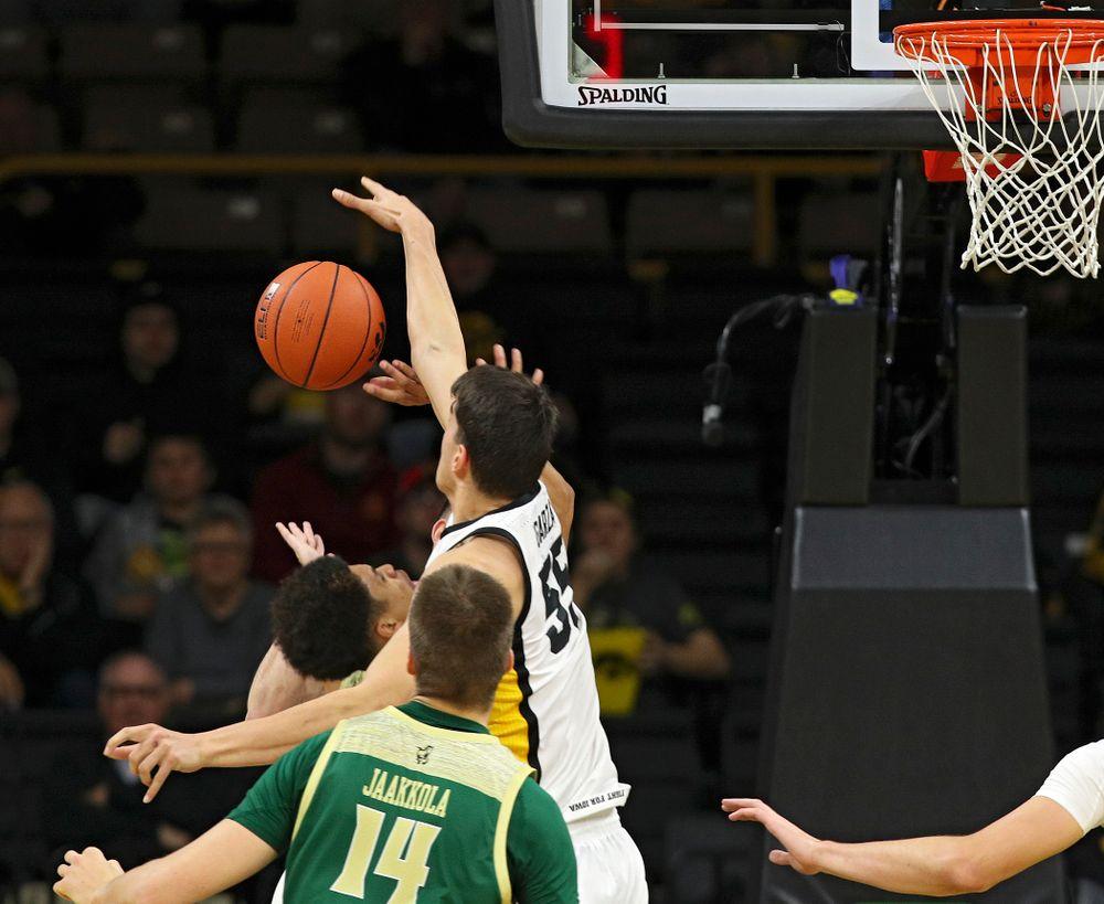 Iowa Hawkeyes center Luka Garza (55) blocks a shot during the first half of their game at Carver-Hawkeye Arena in Iowa City on Sunday, Nov 24, 2019. (Stephen Mally/hawkeyesports.com)