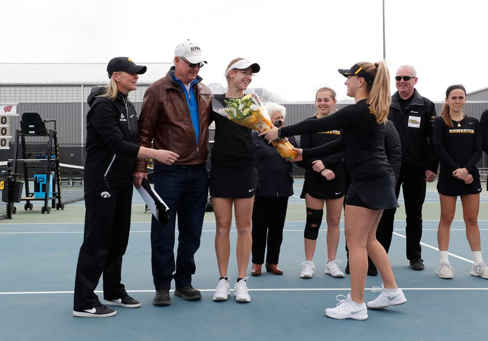 Iowa's Montana Crawford during Senior Day activities before their match against the Wisconsin Badgers Sunday, April 22, 2018 at the Hawkeye Tennis and Recreation Center. (Brian Ray/hawkeyesports.com)