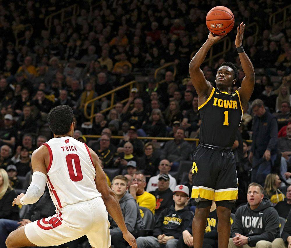Iowa Hawkeyes guard Joe Toussaint (1) puts up a shot during the first half of their game at Carver-Hawkeye Arena in Iowa City on Monday, January 27, 2020. (Stephen Mally/hawkeyesports.com)