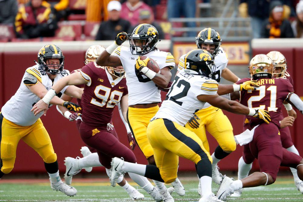 Iowa Hawkeyes wide receiver Ihmir Smith-Marsette (6) returns a kick against the Minnesota Golden Gophers Saturday, October 6, 2018 at TCF Bank Stadium. (Brian Ray/hawkeyesports.com)