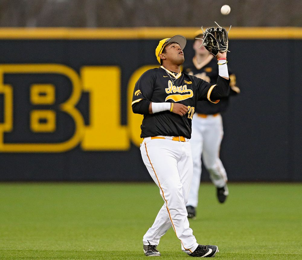 Iowa Hawkeyes second baseman Izaya Fullard (20) pulls in a pop up for an out during the seventh inning of their game against Illinois State at Duane Banks Field in Iowa City on Wednesday, Apr. 3, 2019. (Stephen Mally/hawkeyesports.com)