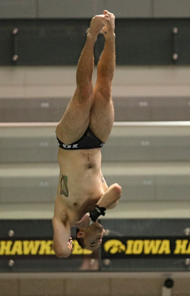 Iowa's Anton Hoherz competes in the men's 1 meter diving event during their meet against Michigan State at the Campus Recreation and Wellness Center in Iowa City on Thursday, Oct 3, 2019. (Stephen Mally/hawkeyesports.com)