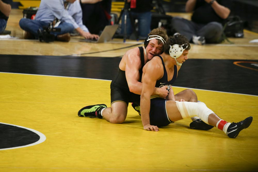 Iowa's Jacob Warner wrestles Penn State's Shakur Rasheed during their 197 lbs match during the Iowa wrestling dual vs Penn State on Friday, January 31, 2020 at Carver-Hawkeye Arena. (Lily Smith/hawkeyesports.com)