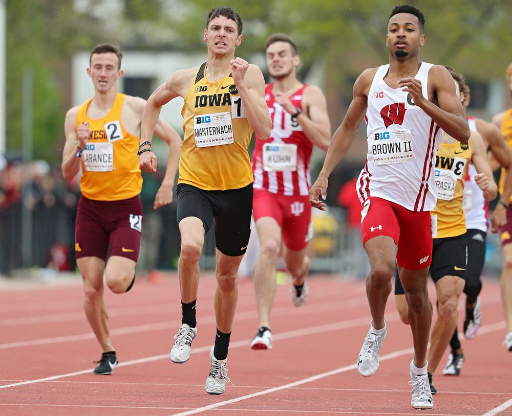 Iowa's Matt Manternach runs the men's 800 meter event on the third day of the Big Ten Outdoor Track and Field Championships at Francis X. Cretzmeyer Track in Iowa City on Sunday, May. 12, 2019. (Stephen Mally/hawkeyesports.com)