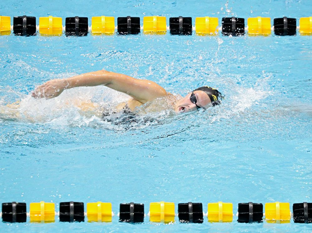 Iowa's Emilia Sansome swims the women's 1000-yard freestyle event during their meet against Michigan State and Northern Iowa at the Campus Recreation and Wellness Center in Iowa City on Friday, Oct 4, 2019. (Stephen Mally/hawkeyesports.com)