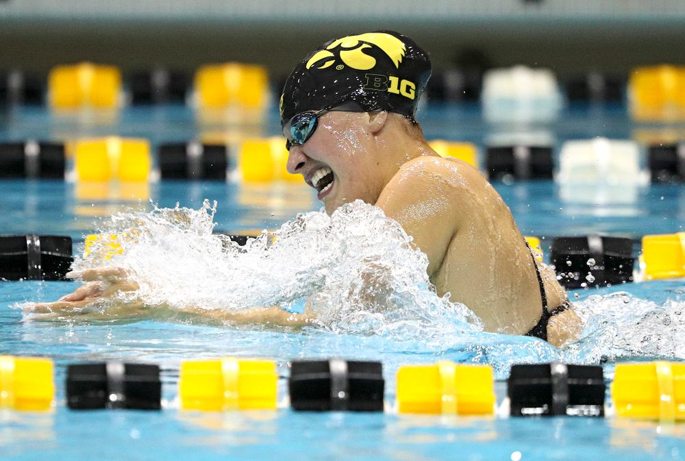 Iowa's Hannah Burville swims the breaststroke section of the 100-yard individual medley event during their meet against Michigan State at the Campus Recreation and Wellness Center in Iowa City on Thursday, Oct 3, 2019. (Stephen Mally/hawkeyesports.com)