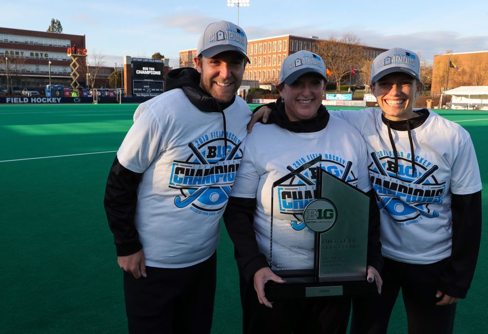 The Iowa Field Hockey coaches following their game against Penn State in the 2019 Big Ten Field Hockey Tournament Championship Game Sunday, November 10, 2019 in State College. (Brian Ray/hawkeyesports.com)