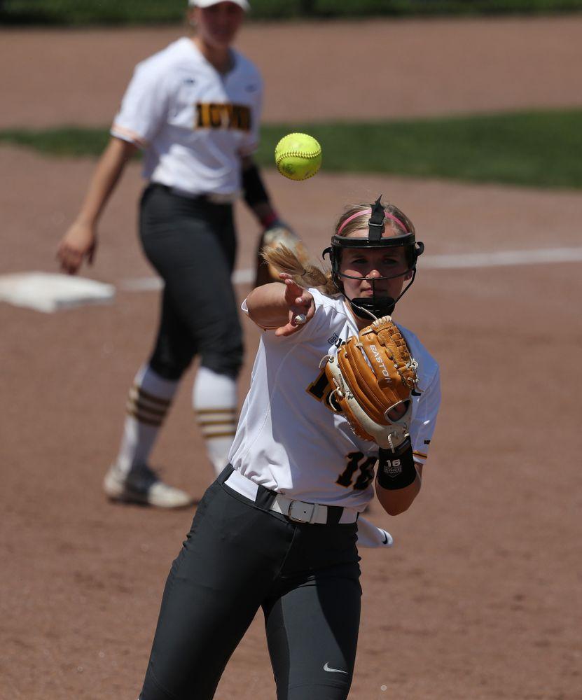Iowa Hawkeyes Sarah Lehman (16) against the Ohio State Buckeyes on senior day Sunday, May 5, 2019 at Pearl Field. (Brian Ray/hawkeyesports.com)