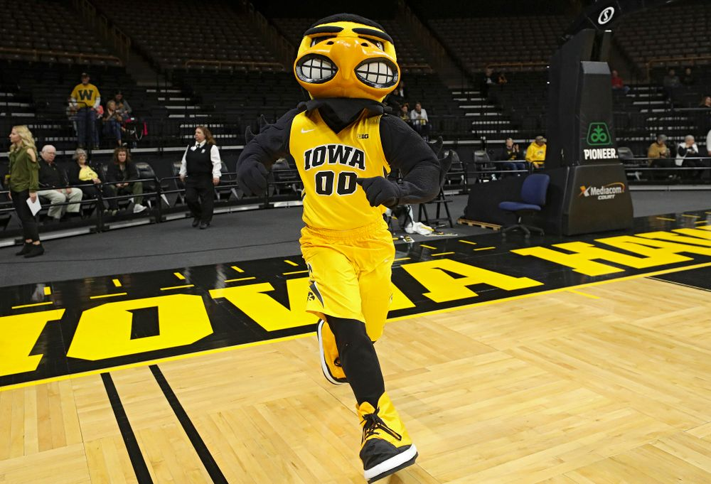 Herky is introduced before their game against Winona State at Carver-Hawkeye Arena in Iowa City on Sunday, Nov 3, 2019. (Stephen Mally/hawkeyesports.com)