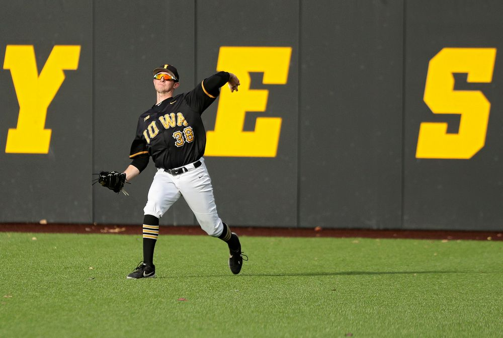Iowa outfielder Trenton Wallace (38) throws a ball back to the infield during the third inning of the first game of the Black and Gold Fall World Series at Duane Banks Field in Iowa City on Tuesday, Oct 15, 2019. (Stephen Mally/hawkeyesports.com)
