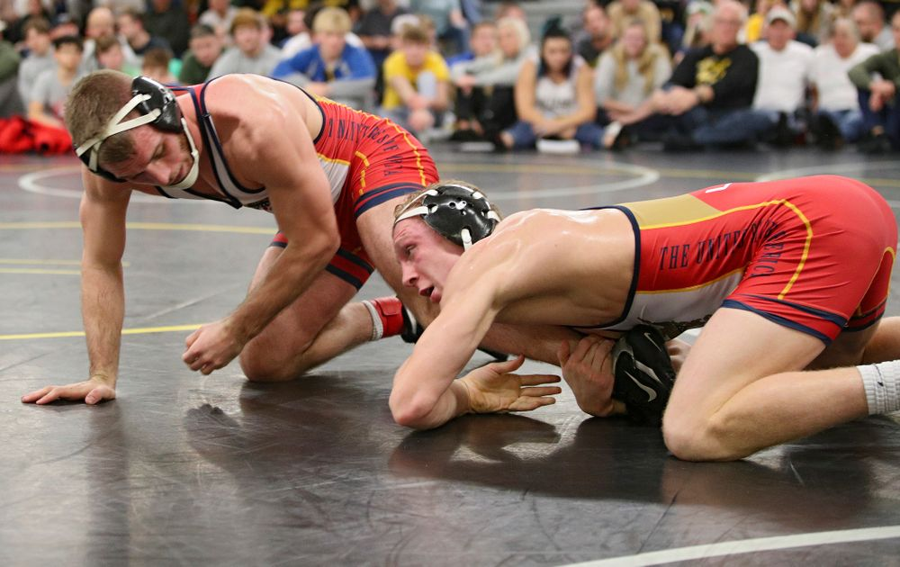 Iowa's Kaleb Young (right) controls the leg of Zach Axmear during their preseason match at the Dan Gable Wrestling Complex at Carver-Hawkeye Arena in Iowa City on Friday, Nov 8, 2019. (Stephen Mally/hawkeyesports.com)