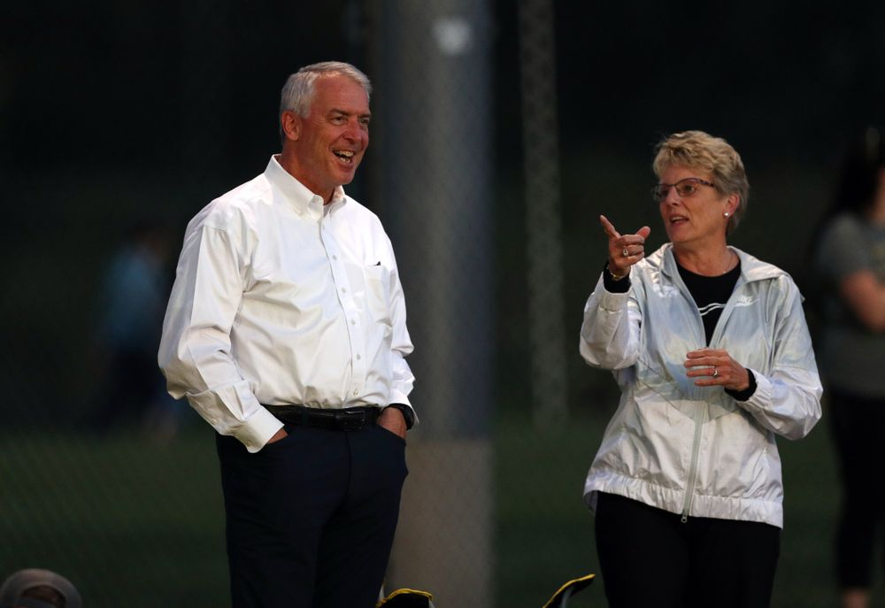 Athletics director Gary Barta and deputy athletics director Barbara Burke during a 2-1 victory over the Iowa State Cyclones Thursday, August 29, 2019 in the Iowa Corn Cy-Hawk series at the Iowa Soccer Complex. (Brian Ray/hawkeyesports.com)