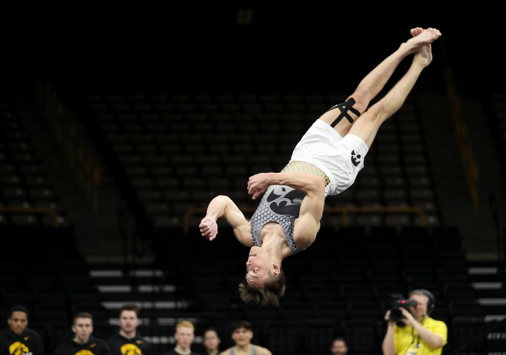 Iowa's Kulani Taylor competes on the floor against Illinois Sunday, March 1, 2020 at Carver-Hawkeye Arena. (Brian Ray/hawkeyesports.com)